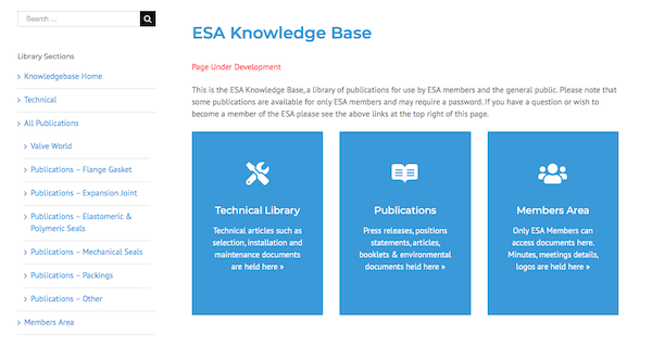 Knowledge Base of the ESA website